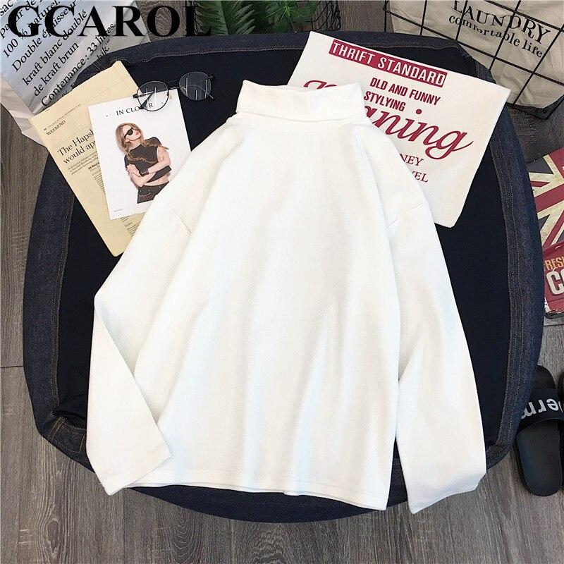 GCAROL damska koszulka z golfem w paski z pełnym rękawem topy ze streczu podstawowe opuszczane ramiona podkoszulek Basic Perfect Pullover M-XL 4