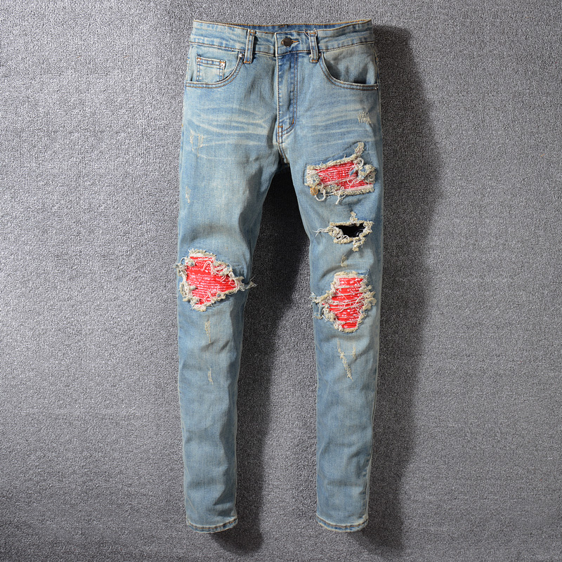 American Streeetwear Fashion Men Jeans Retro Blue Washed Slim Fit Ripped Jeans Broken Pants Patchwork Designer Hip Hop Jeans Men