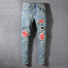 цена American Streeetwear Fashion Men Jeans Retro Blue Washed Slim Fit Ripped Jeans Broken Pants Patchwork Designer Hip Hop Jeans Men