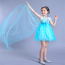Free shipping New style Halloween Girls frozen princess elsa dress 2018 spring new for party birthday gift