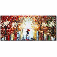 Hand Painted Abstract Palette Knife Impasto Landscape Canvas Oil Painting Lovers Umbreller Wall Pictures Living Room Home Decor