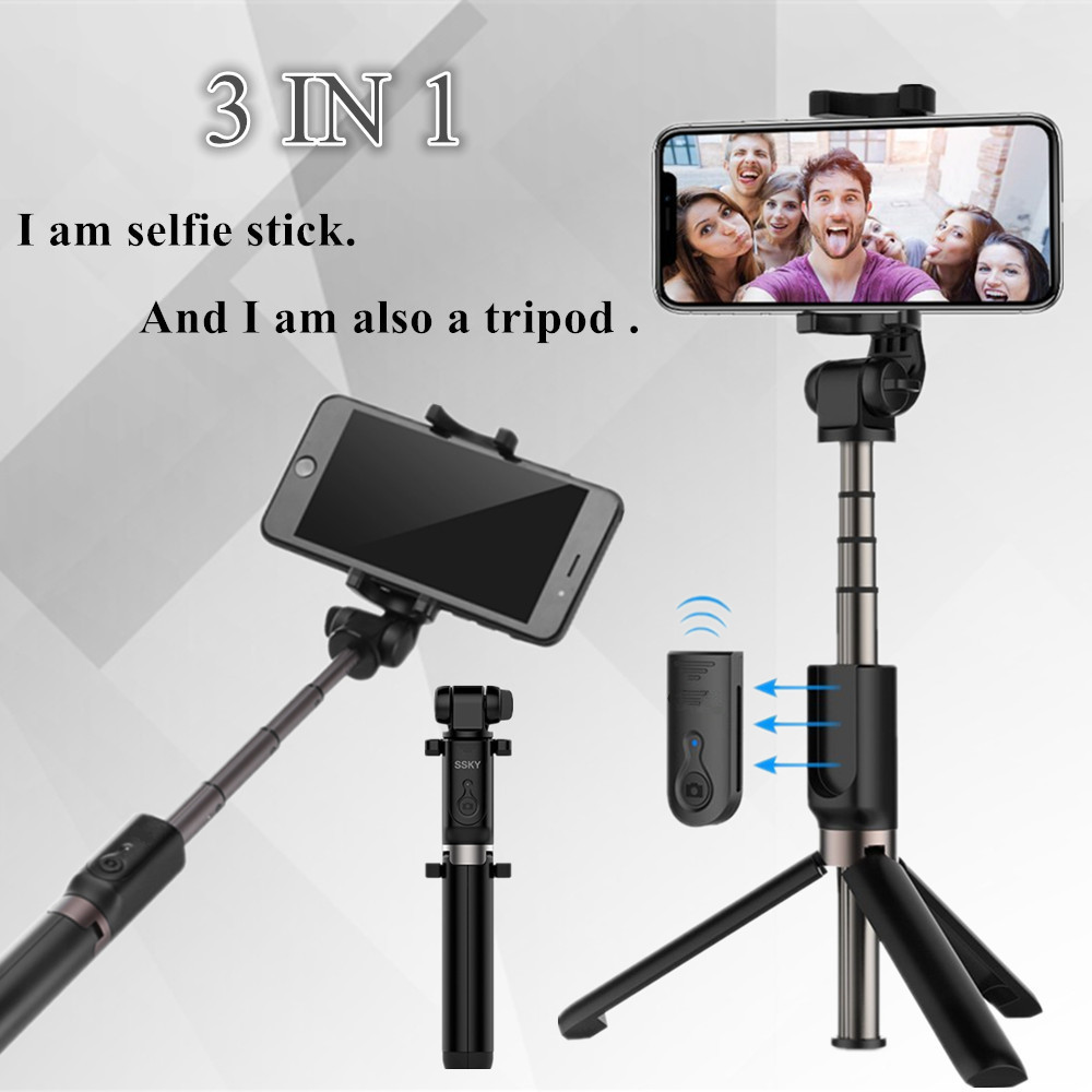 FGHGF T3 Tripod Selfie Stick Bluetooth 3.0 Remote 360 Rotation Lightweight Foldable For iphone se Smart Phone Android