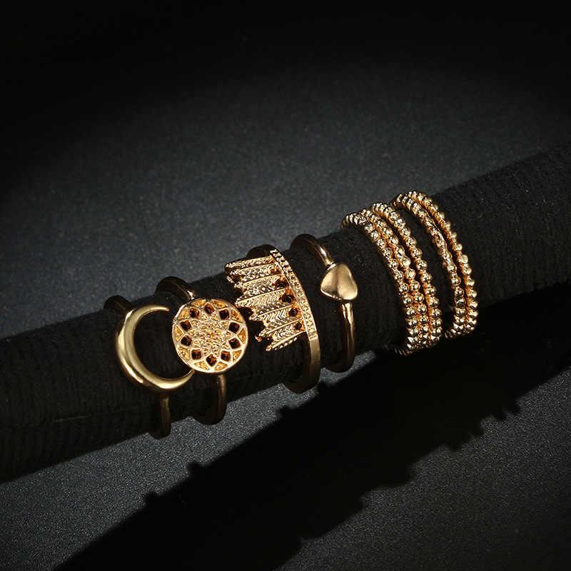 34 สไตล์ Golden ฤดูใบไม้ร่วง Vintage Knuckle แหวนผู้หญิง Boho ดอกไม้เรขาคณิตชุดแหวนคริสตัล Bohemian เครื่องประดับนิ้วมือ