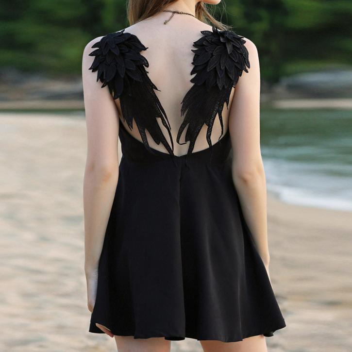 3197a3ceb Buy black angel wing dress and get free shipping on AliExpress.com