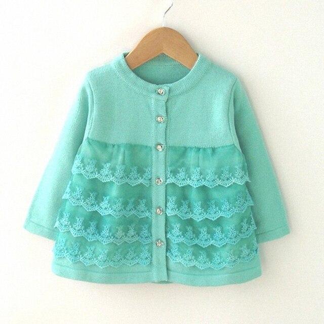 9 М до 24 М детские новорожденных девочек мода кружева слоистых трикотажные принцесса кардиган свитер пальто малышей девушки случайные свитер верхняя одежда