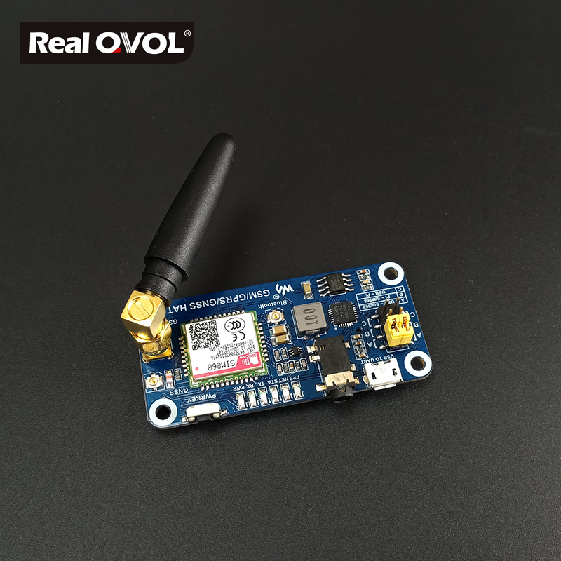GSM/GPRS/GNSS/Bluetooth 3.0 HAT For Raspberry Pi 2B/3B/Zero/Zero W, Support SMS, Phone Call,email, Onboard USB To UART Converter
