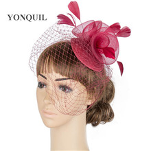Marron mesh fasinctor bride elegant headdress base crinoline made flower female veils with feather hats party headwear MYQ063