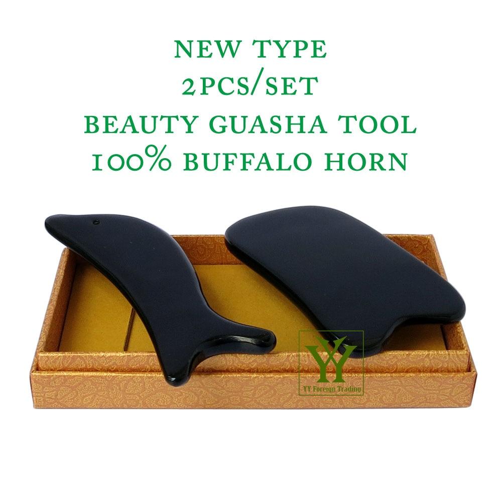 New Arrival 100% buffalo horn thicken high polishing beauty guasha tool 1pcs square + 1pcs dolphin plate