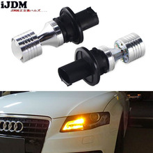 iJDM PH24WY LED White Yellow Error Free SPH24 12272 LED Bulbs For Audi Cadillac GMC Lincoln Saab For Front Turn Signal Lights