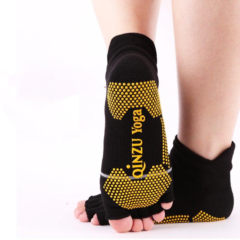 Professional Yoga Socks Women Men Cotton Backless Anti-Slip Open Toe Half-fingers Pilates Fitness Ballet Sport Socks Slippers
