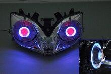 Проектор Лампы Фар Голубой Ангел Глаз + Красный Дьявол Глаз Для Honda CBR 600 F4I 01-07 2001 2002 2003 2004 2005 2006 2007 [DD03-BR]