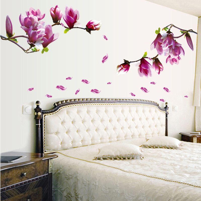 Purple Romantic Big Flower Wall Stickers Home Decor: Purple Magnolia Flowers Wall Stickers Home Decor Bedroom