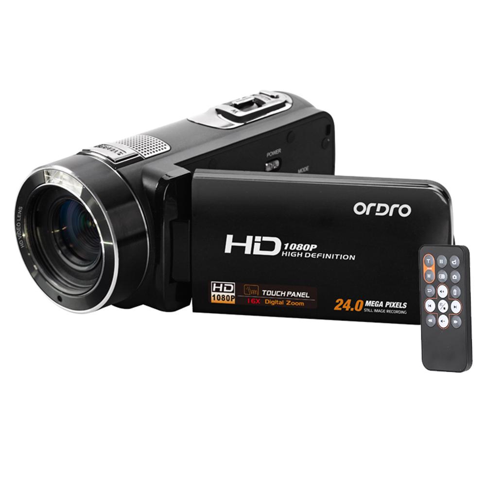 Prix pour RU Stock ORDRO HDV-Z8 Full HD 1080 P Caméra Vidéo Numérique 16x Zoom Numérique LCD Tactile Écran 24MP Caméscope Soutien Visage détection