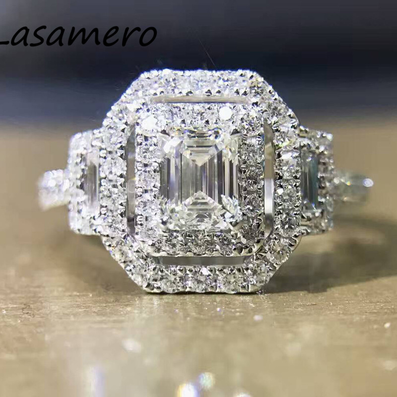 LASAMERO 0.50CT Emerald Cut Natural Diamond Accents 18k Gold Double Halo Half Eternity Engagement Wedding Promise Ring