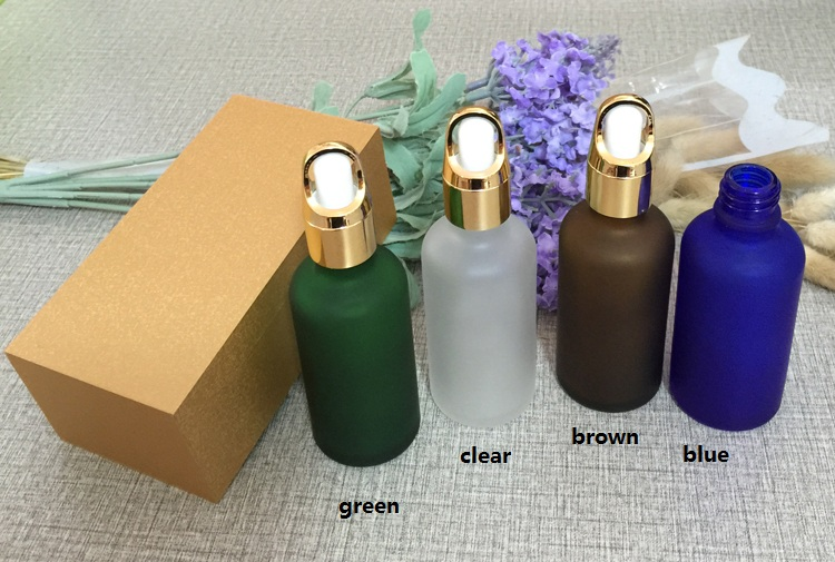 4pcs 50ml frosted glass bottle empty dropper bottle With wooden box,gold cap essential oil bottle, perfume subpackage jar free shipping 30 50ml 4pcs lot glass green essential oil bottle with dropper packing dilution bottle