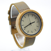 2016 Hot Unique Vogue Womens Bamboo Wooden Watch Quartz Outdoor Sport Watches Clock With Leather Strap Montre Femme