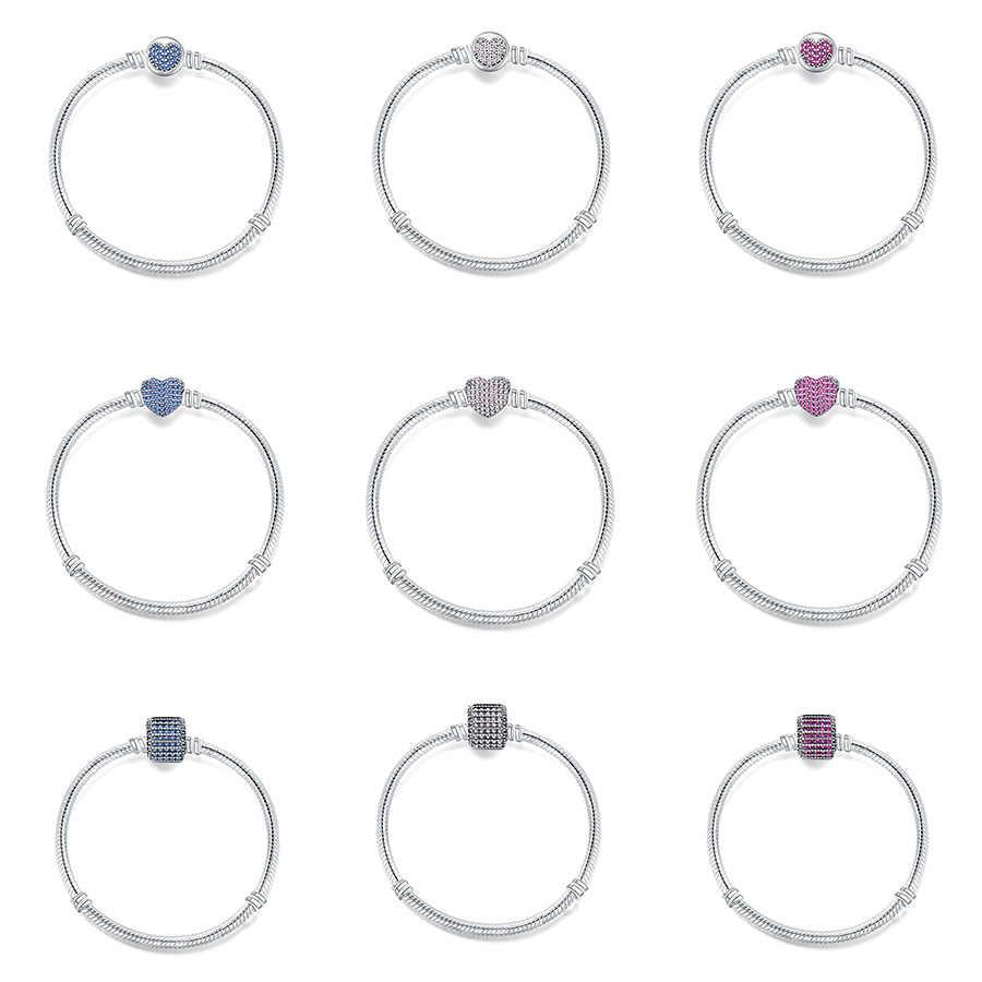 22 стиля 925 браслеты из стерлингового серебра Подвеска-Кристальное сердце пряжка браслет-цепочка змея браслеты для женщин подходят Diy бусины Шарм
