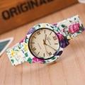 2016 Цветочные Цветочные ЖЕНЕВА Часы сад красота и милые браслет смотреть Женщины Наручные Часы Класса Люкс Кварцевые Часы Relogio Feminino