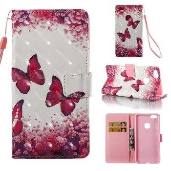 Funda para Huawei P10 Lite, Funda de cuero con cartera y mariposa magnética, fundas para teléfono pintadas, bolsas para Huawei P10Lite
