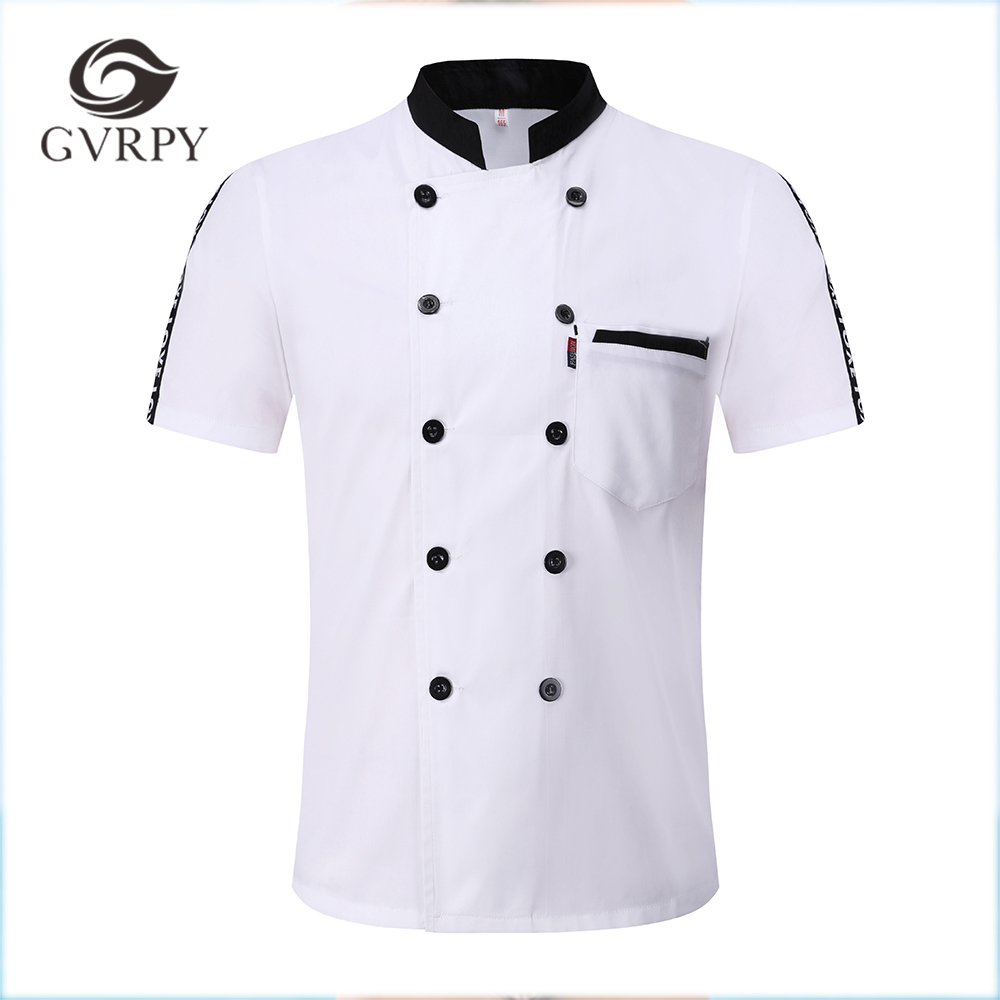 M-3XL New Wholesale Unisex Kitchen Bakery Food Service Chef Uniform Short Sleeve Breathable Double Breasted Chef Jackets & Apron
