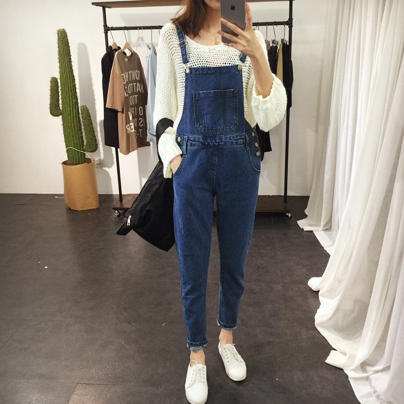 2017 Spring Boyfriend Denim Overalls For Women Rompers Womens Jumpsuit Ripped Plus Size Jeans Woman Casual