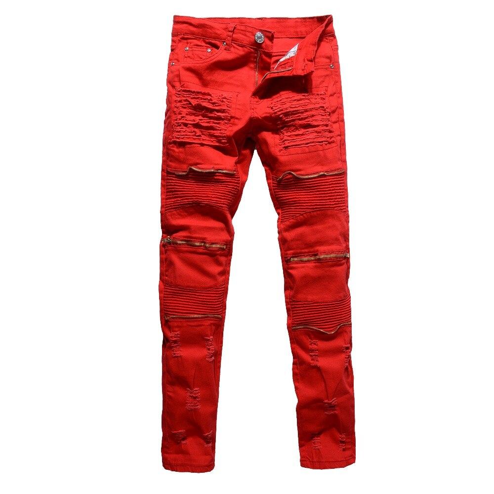 Mens red white black holes ripped pleated men biker jeans moto Casual slim stretch Knee zipper skinny denim pants dropshipping
