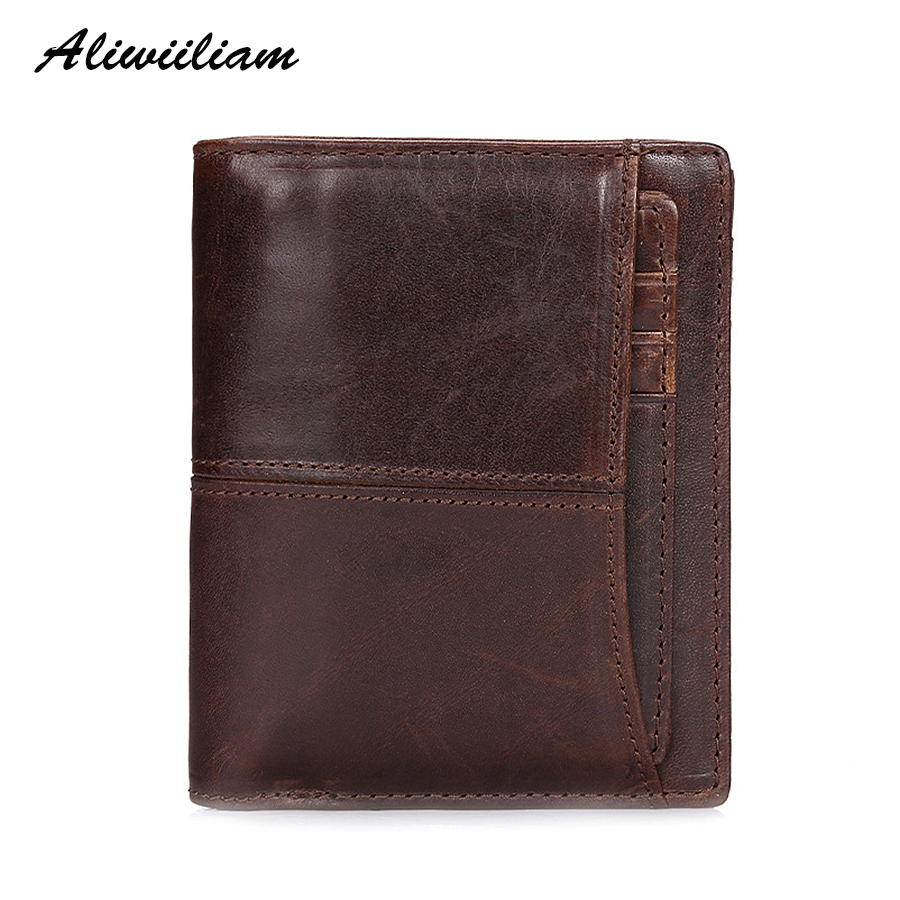 100% Aliwilliam Brand Genuine Leather Short Wallet Men Coin Purse Pocket Vintage Small Cowhide Male Wallets Mini Card Holder genuine cowhide leather men wallet short coin purse multi card bit wallets brand high quality dollar vintage male card holder
