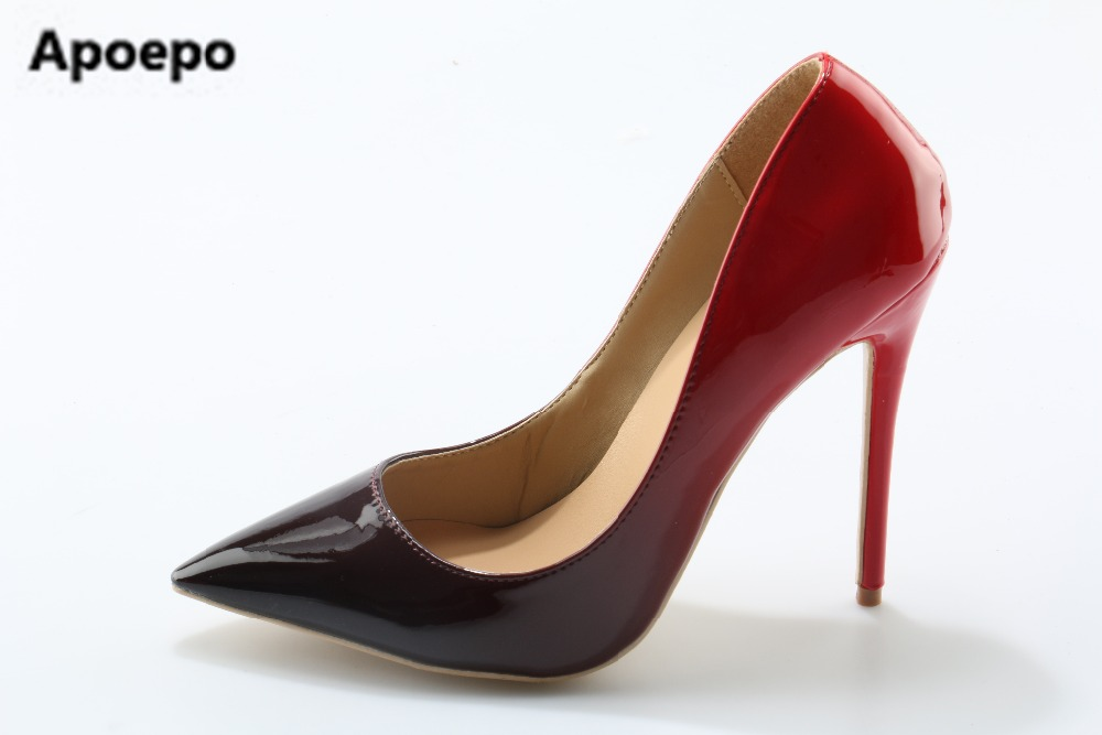 Shoes Woman High Heels Wedding Shoes Black/Red Patent Leather Women Pumps Pointed Toe Sexy High Heels Shoes Stilettos size 42 patent leather pumps shoes red black