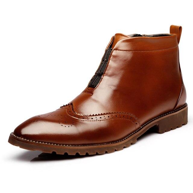 Dedo Del Pie puntiagudo Botas de Invierno de Los Hombres de Cuero Suave Hombres Botas Vintage