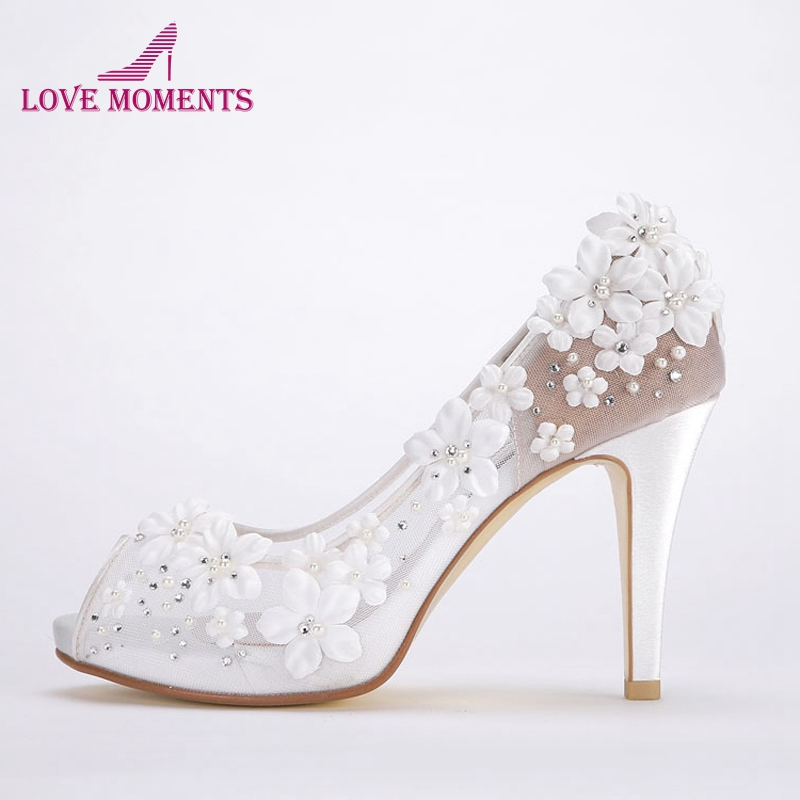 28fca07fefbf Beautiful White Lace Bridal Wedding Dress Shoes Peep Toe Comfortable 4  Inches High Heel Formal Dress
