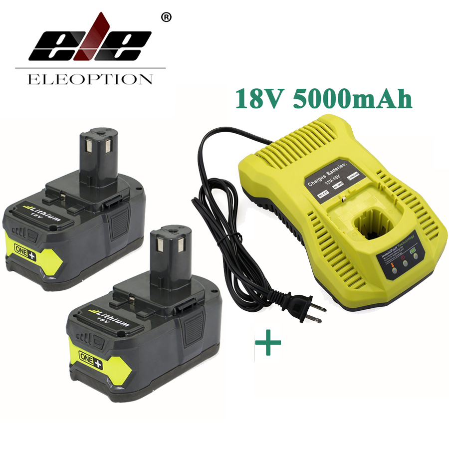 ELEOPTION With Charger 18V 5000mAh Li-Ion Rechargeable Battery For Ryobi P108 RB18L40 P2000 P310 For Ryobi ONE+ BIW180 3 6v 2400mah rechargeable battery pack for psp 3000 2000