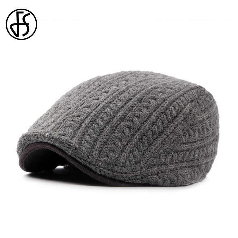 FS para mujer de punto sombrero de la boina de lana de invierno gorra para  hombres cc2f070505a