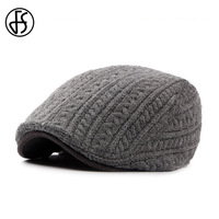 Winter Knitted Wool Berets Hats For Men And Women 2017 Fashion Strpied Solid Flat Beret Cap