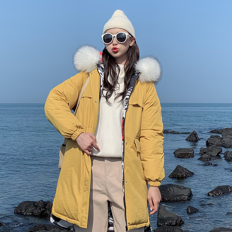 2019 New Double 2 Sides Women Winter Jacket Warm Thicken Female Hooded Coat Long With Fur Collar Womens   Parka   Mujer Inveierno