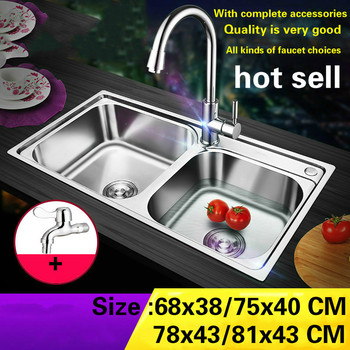 Free shipping Hot sell standard individuality kitchen double groove sink ordinary 304 stainless steel 68x38/75x40/78x43/81x43 CM фото