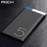 Ultrathin Power Bank 10000mah ROCK Portable Polymer 5000 10000mAh Slim Metal Alloy Powerbank Bateria Externa Power