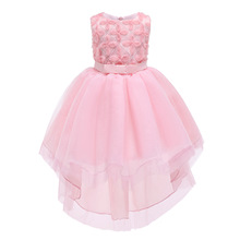 Summer 2019 Girl Party Dress Appliques Trailing Kids Dresses for Girls Tutu Princess Dress Ball Gown for Party Wedding Costume hot sale for 2017 3 15y girls dresses children ball gown princess wedding party dress girls summer party clothes tutu dress