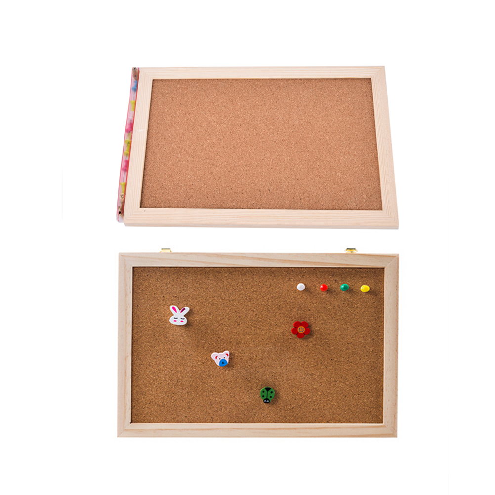 1 Pcs Office Board Photo Cork Board Wood Framed Message Notice Board 20*30cm Pin Boards Cork For Home With Accessories