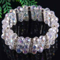 "Free Shipping 7x10MM Clear Crystal Faceted Beads 18KGP Stretch Bracelet 7""  1Pcs H617"