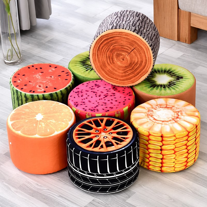 Taboret  Solid Wood  Cartoon Originality Fabrics Children's Tea Table Stool Family Chair Sofa In Shoes Stool  Can Change
