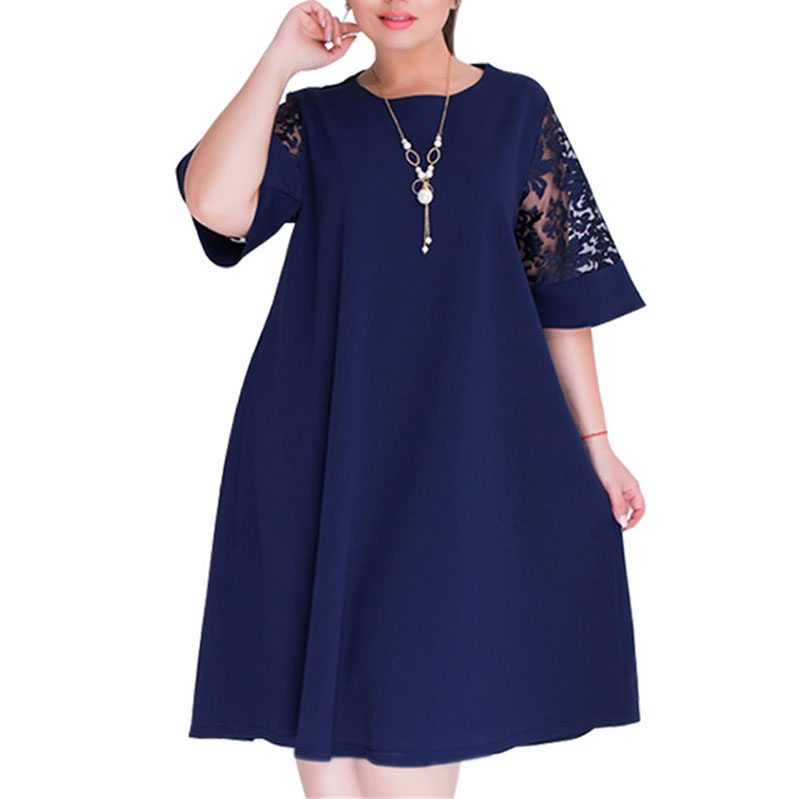 Plus Size Vestidos 2018 Summer Women Lace Dress Casual Loose Half Sleeve O Neck Mesh Patchwork Elegant Mid-calf Dresses XL-6XL