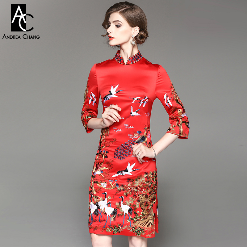 autumn winter woman dress dark blue red knee length Chinese style dress pine tree crane peacock embroidery party event XXL dress readit knitting dress 2017 winter woman dress dark blue wine red knitted dress calf length hollow out bottom casual dress d2558