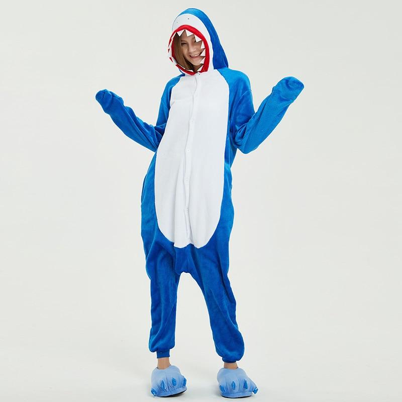 Winter Shark Pajamas Adult Unisex Warm Flannel Sets Cute Animal Sleepwear Home Cloth For Women/Men/Couple Wholeasle S-XL