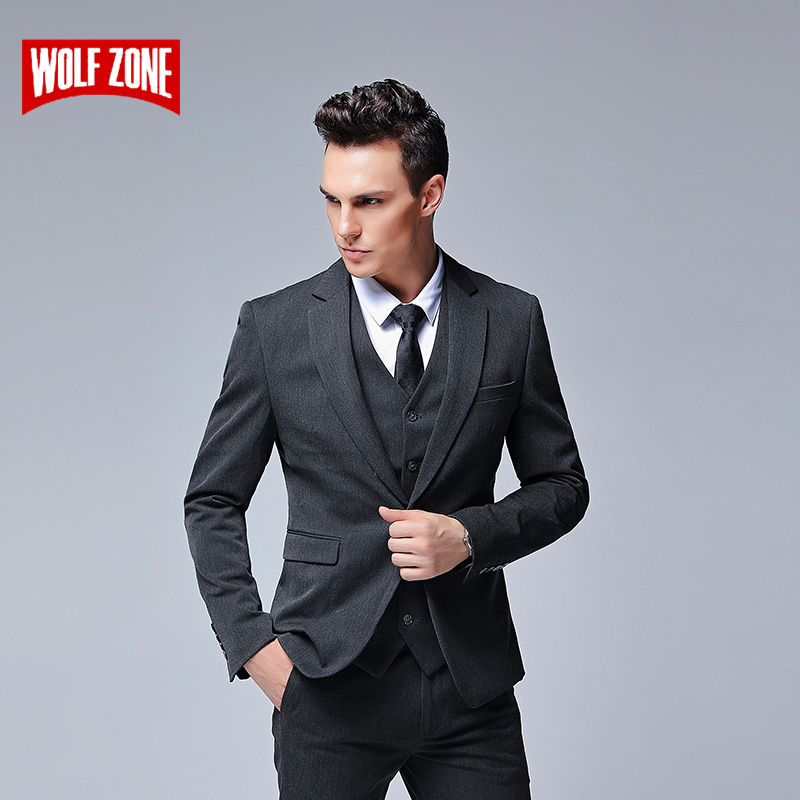 Fashion 3 Piece Suit Men Autumn Winter Luxury Brand Design Wedding Mens Suits with Pants New Business Casual Man Suits 2 Colour
