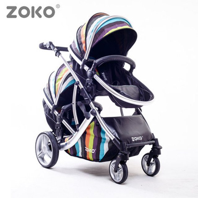 Fashion Highview Twins Stroller for 0-3 Years Old Baby Sitting & Lying Down, Folding Pushchair for Two Kids, 2 Seats Pram