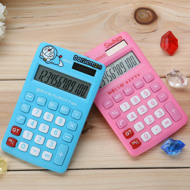 Hello Kitty & Doraemon Calculator LED Desktop Solar Power Handheld Pocket General Purpose Calculator For Study & Office