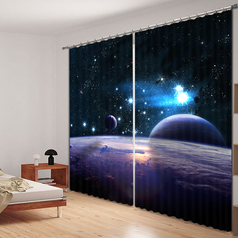 Bedroom Living Room Kitchen Home Textile Luxury 3D Window Curtains Star ChartGift For <font><b>Kids</b></font>