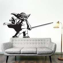 Yoda Force Wall Stickers bedroom mural house quarto wall decals for kid room home decor DIY self-adhesive wallpaper  SA775