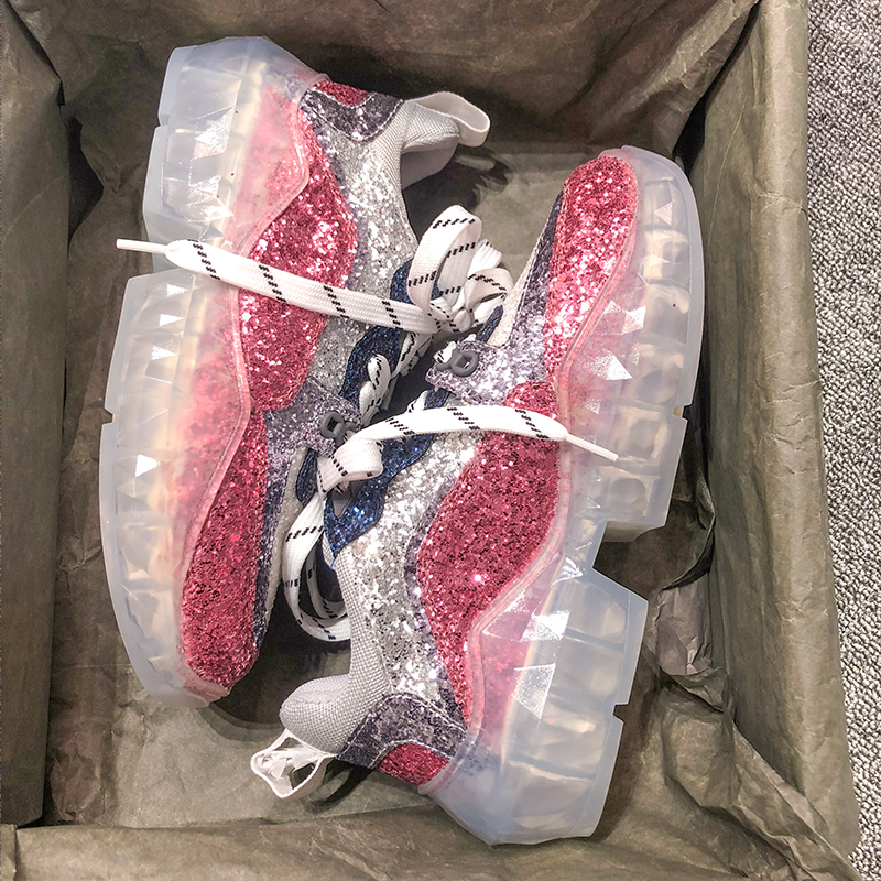 2019 womens sports shoes transparent thick bottom increased sequins red womens shoes wear flat walking shoes  sneakers QQ-1212019 womens sports shoes transparent thick bottom increased sequins red womens shoes wear flat walking shoes  sneakers QQ-121