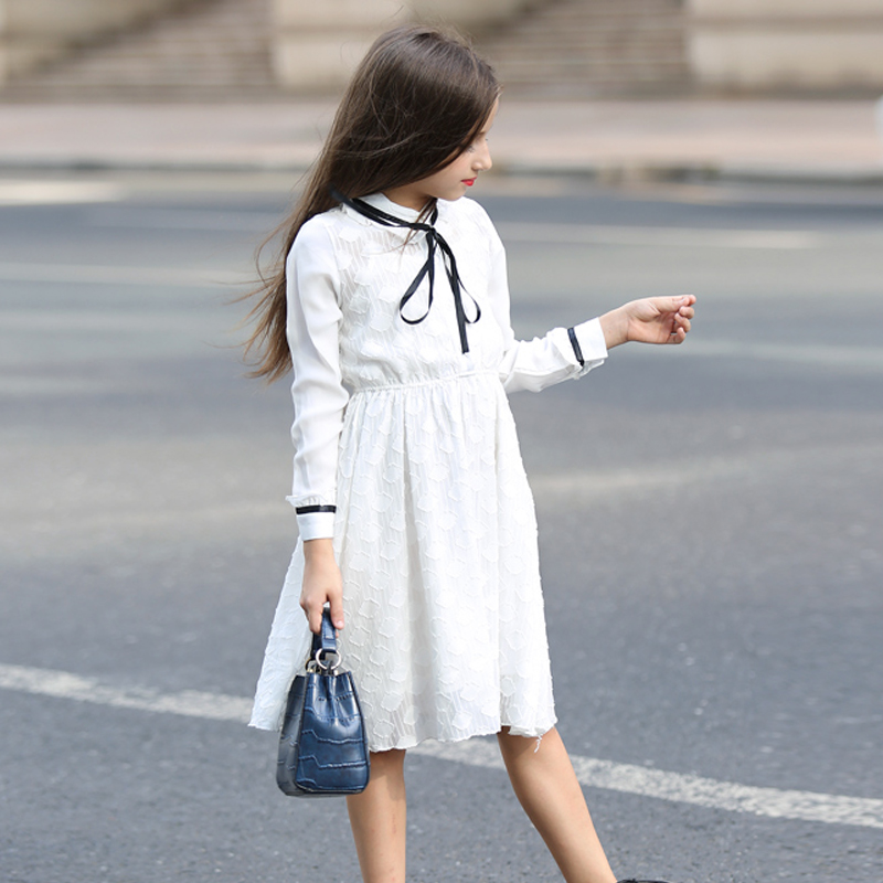 Princess Girls Dress White Lace Dress Long Sleeve Bow Decoration Teenager Children Dress for Summer, Spring, Autunm, Winter girls europe and the united states children s wear red princess long sleeve princess dress child kids clothing red bow lace